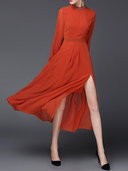 Orange Long Sleeve Crew Neck Beaded Swing Midi Dress
