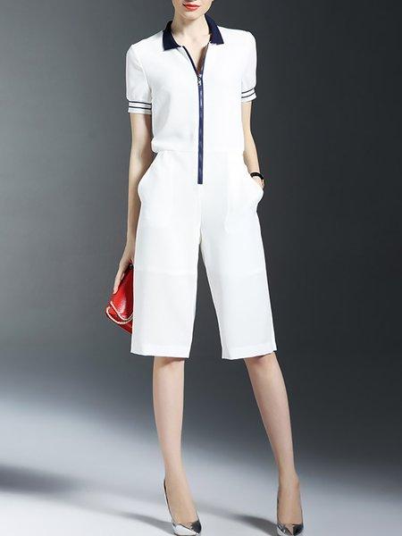 White Pockets Short Sleeve Plain Shirt Collar Jumpsuit