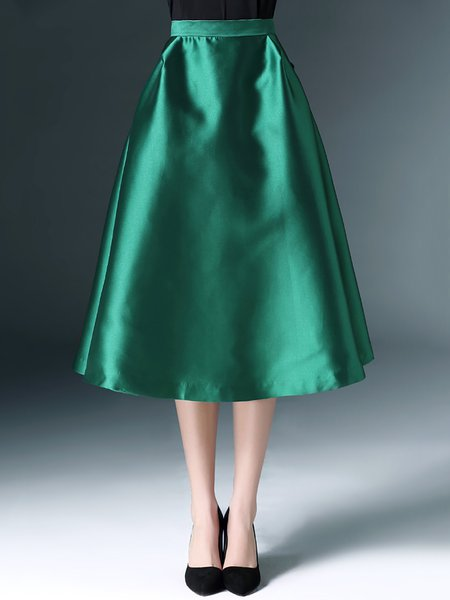 Green Casual Polyester Midi Skirt - StyleWe.com