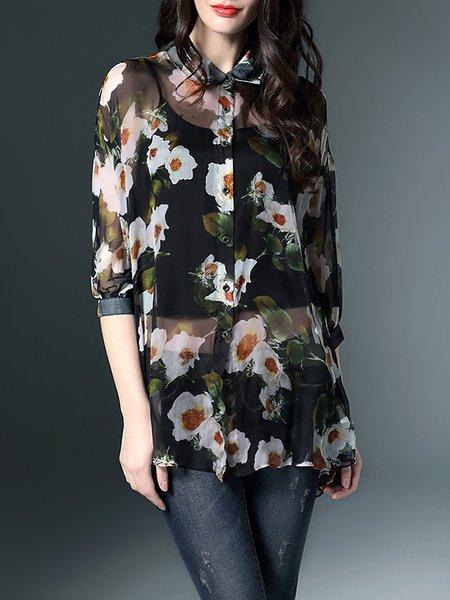 Black 3/4 Sleeve Silk Tunic