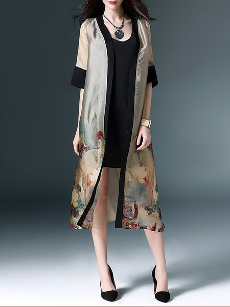Multicolor Polyester Half Sleeve Coat