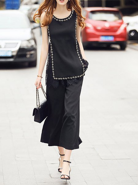 Black Beaded Two Piece Polyester Sleeveless Jumpsuit