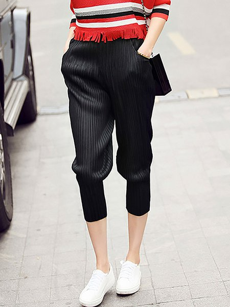 Black Casual Ribbed Cropped Pants