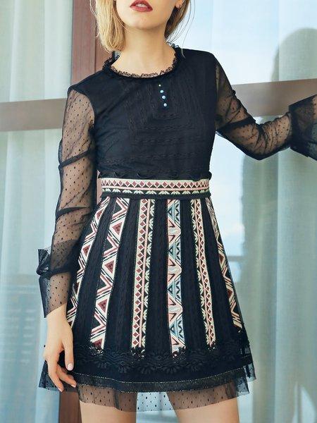 Polyester Half Sleeve Casual Mini Dress