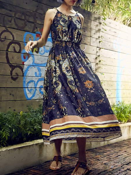 Multicolor Spaghetti Asymmetric Boho Maxi Dress