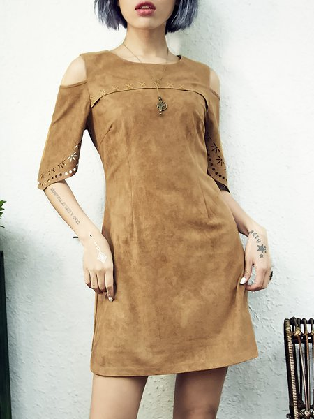 Khaki Casual A-line Mini Dress