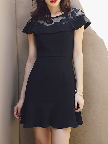 Black Plain Short Sleeve Chiffon Mini Dress