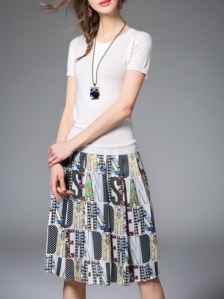 White Short Sleeve A-line Crew Neck Letter Midi Dress