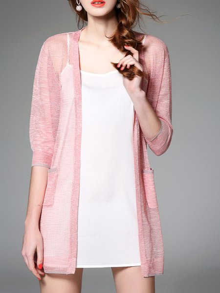 Pink 3/4 Sleeve Polyester Cardigan