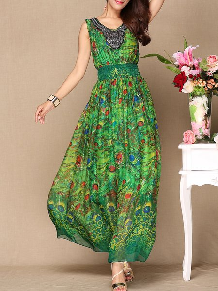 Vintage Printed V Neck Sleeveless Boho Maxi Dress