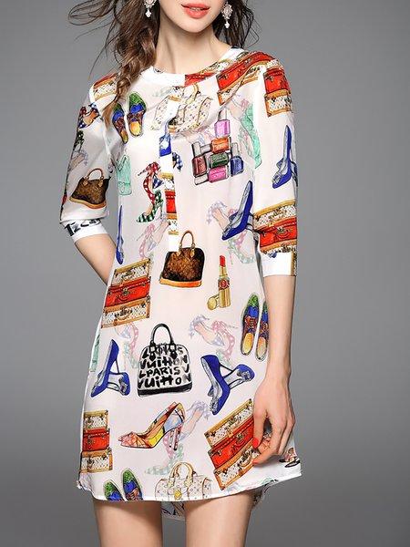 H-line 3/4 Sleeve Graphic Casual Silk Mini Dress