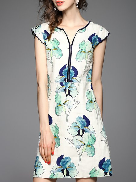 Green V Neck Elegant Floral-print Mini Dress