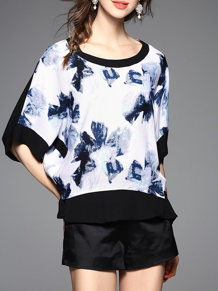 Navy Blue Floral Casual Blouse