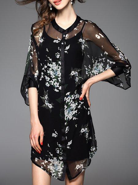 Black Batwing  Shirt Dress