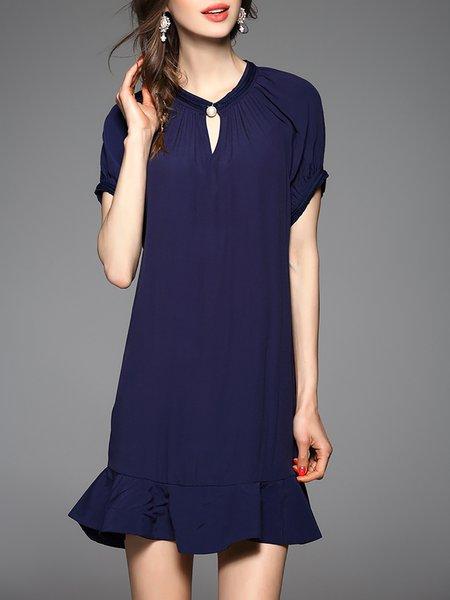 Navy Blue Elegant Plain A-line Crew Neck Shirt Dress
