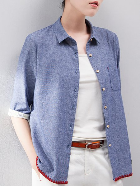 Blue Plain Denim Casual Blouse