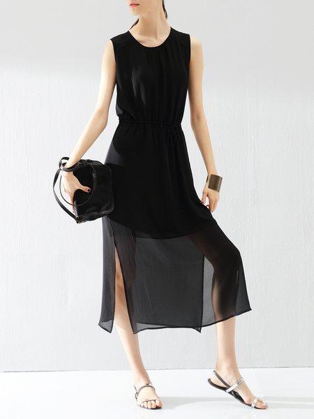 Plain Casual Sleeveless Midi Dress