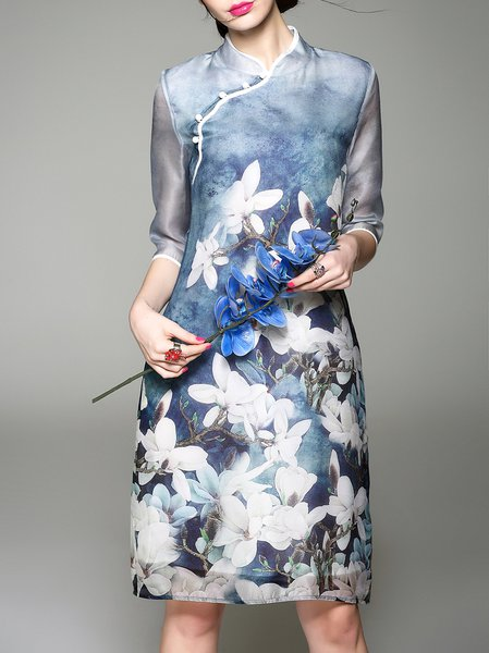 Polyester Vintage Half Sleeve Midi Dress