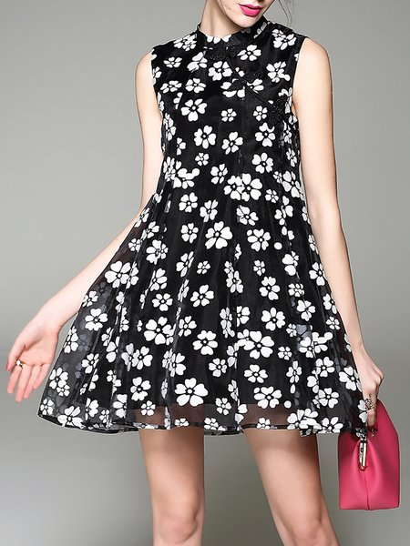 Black Printed Crew Neck Girly A-line Mini Dress