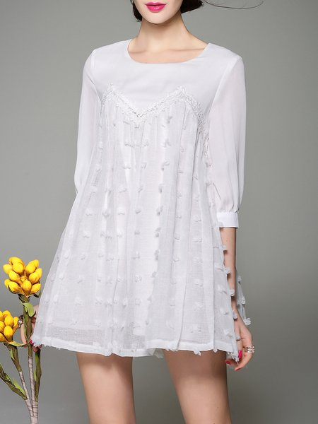 White Crew Neck Paneled A-line 3/4 Sleeve Mini Dress