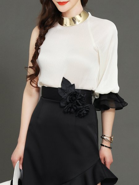 Frill Sleeve H-line Silk Casual One Shoulder Blouse