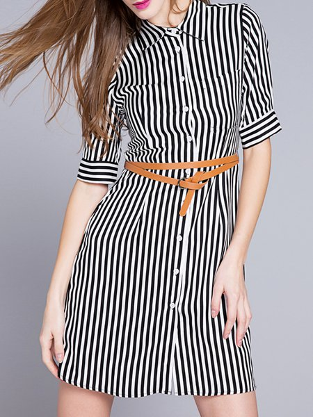 Casual Half Sleeve H-line Shirt Dress