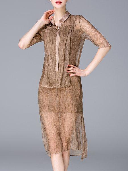 H-line Vintage Half Sleeve Shirt Dress