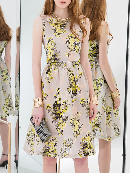 Yellow Silk Floral-print Sleeveless Midi Dress