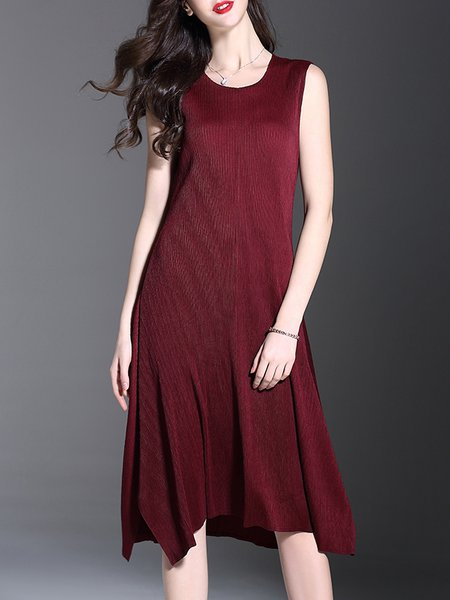 Ribbed Crew Neck Casual Sleeveless Plain Midi Dress