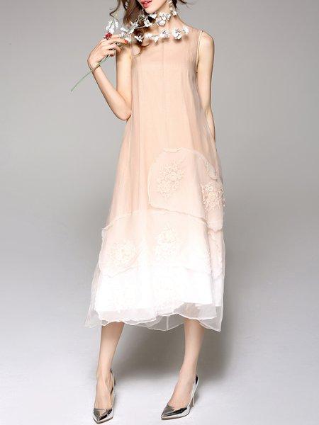 Coffee Crew Neck Silk Casual Embroidered Midi Dress