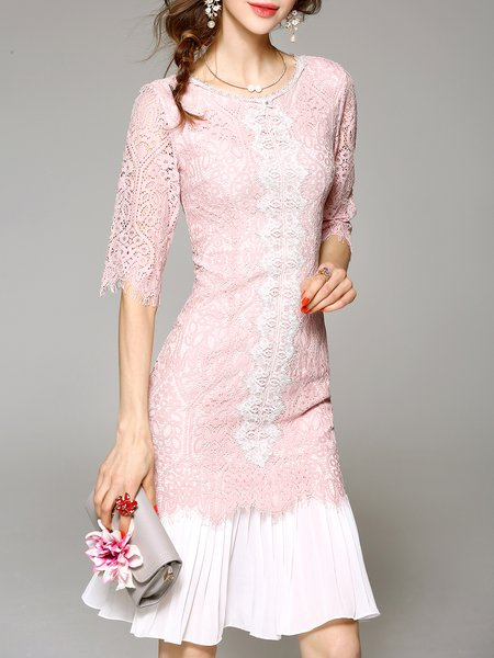 Pink Casual Crew Neck Lace Plain Midi Dress