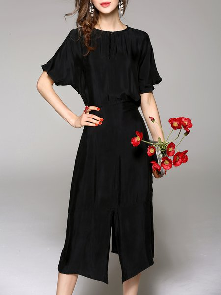 Black Rayon Plain Slit Casual Midi Dress