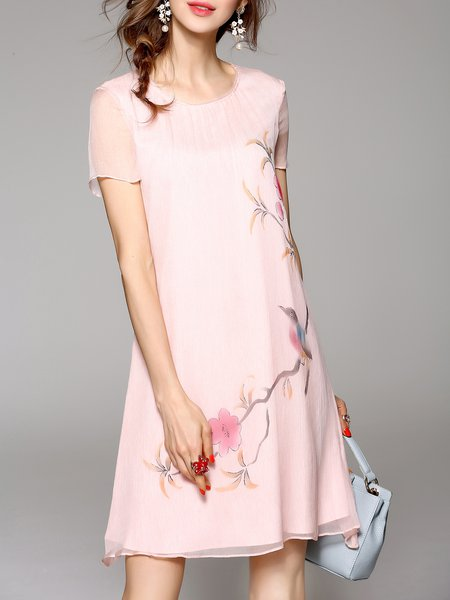 Pink Floral Print Silk Casual Midi Dress
