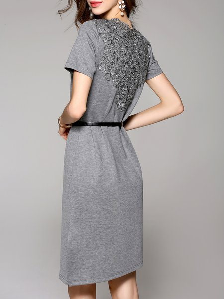 Gray Casual Cotton Midi Dress - StyleWe.com