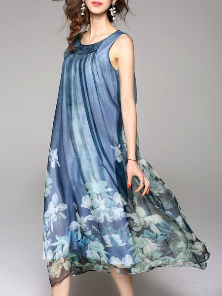 Dark Blue Sleeveless Silk Floral Midi Dress