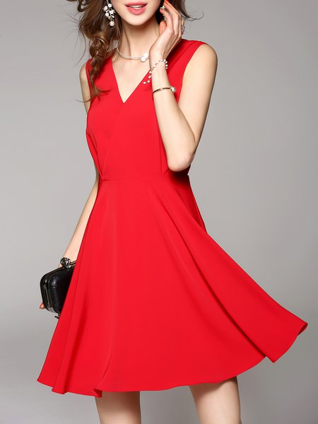 Red Sleeveless V Neck Plain Mini Dress