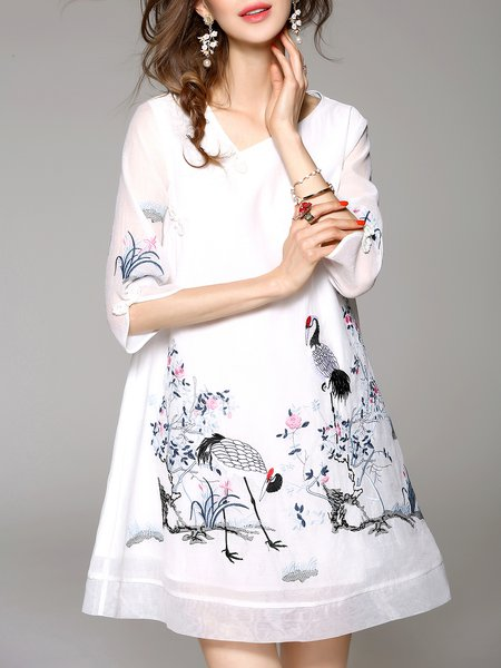 White 3/4 Sleeve A-line V Neck Embroidered Mini Dress