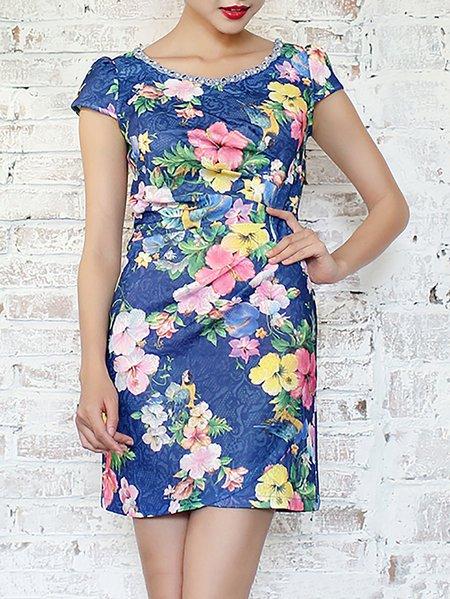 Blue Floral Short Sleeve Crew Neck Mini Dress