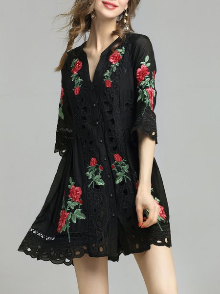 Silk Floral Girly A-line Frill Sleeve Mini Dress