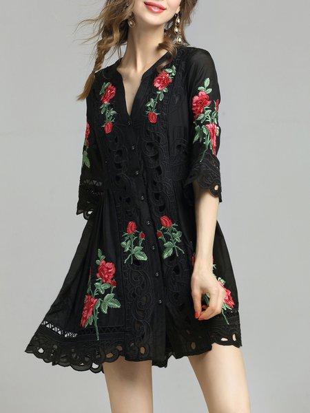 Black Half Sleeve Floral Pierced Mini Dress