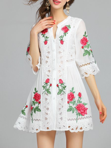 White Stand Collar A-line Half Sleeve Floral Mini Dress