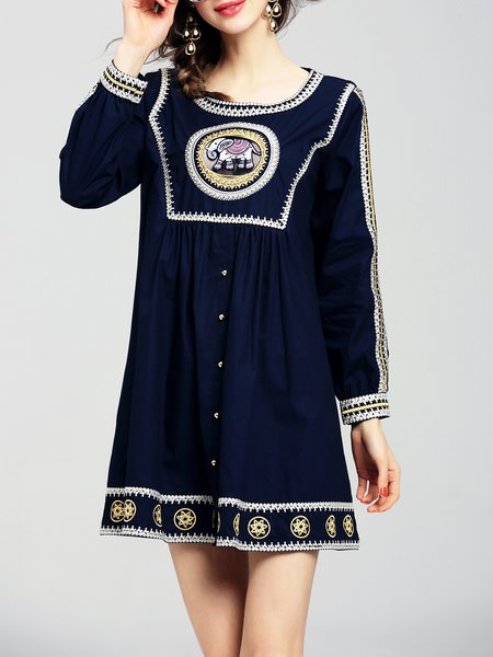 Casual Long Sleeve Cotton Embroidered Mini Dress