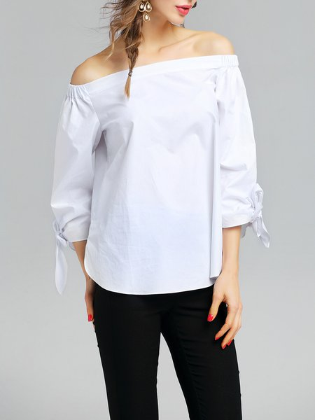 White Plain Off Shoulder 3/4 Sleeve Cotton Blouse