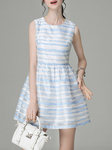 Crew Neck Sleeveless A-line Organza Girly Mini Dress