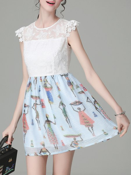 White A-line Paneled Lace Sleeveless Mini Dress