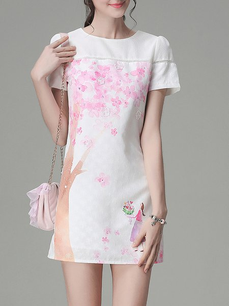 White Short Sleeve Crew Neck Floral-print H-line Mini Dress