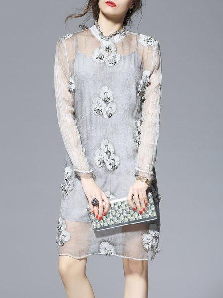 Silk Long Sleeve Elegant Crew Neck Mini Dress