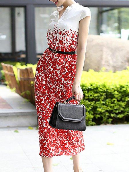 Red Short Sleeve Stand Collar H-line Shirt Dress