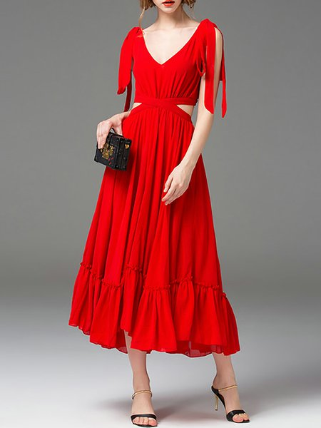 Red V Neck Short Sleeve Maxi Dress