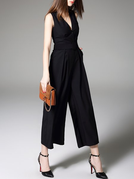 Dark Blue Pleated Sleeveless Cotton-blend Jumpsuit